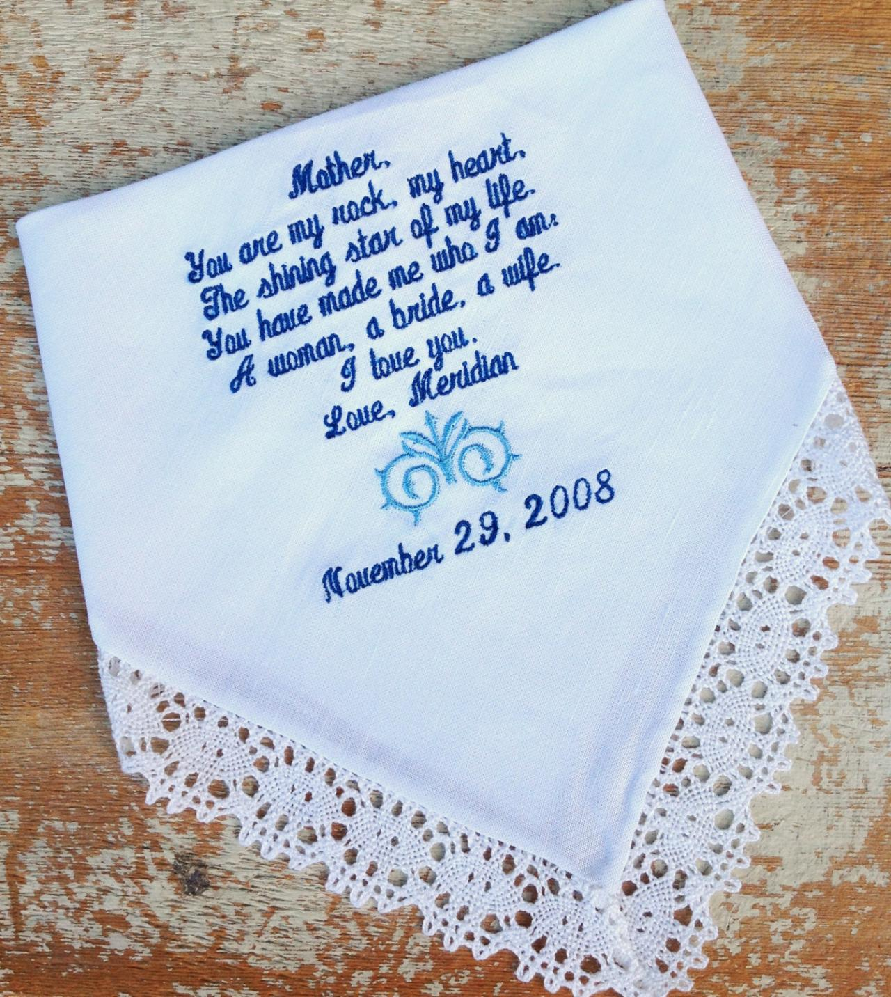 MOTHER From BRIDE Wedding Heirloom Handkerchief Custom Embroidered Personaliz